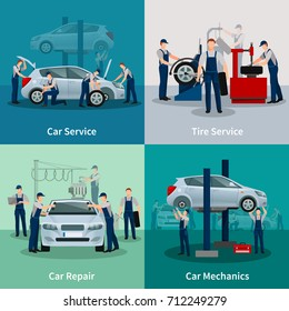 Flat 2x2 compositions presenting work process in car and tire services car repair and car mechanics  illustration