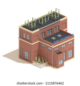 Flat 3d model isometric red brick power station industry illustration isolated on white background.