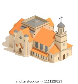 Flat 3d render model isometric Christian church icon or cathedral building illustration isolated on white background