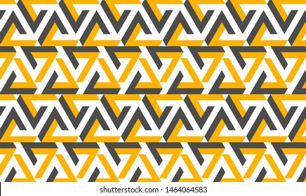 Flat abstract pattern illustration made of yellow and grey impossible triangle geometry on white background