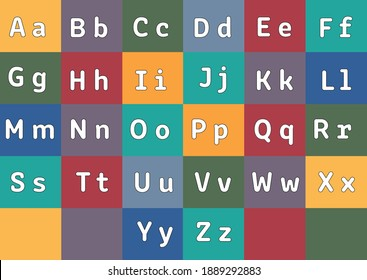 A flat  Alphabet, each letter is on its own colourful background for print, websites, children, teachers, schools.