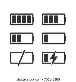 Flat battery charge phases icons collection for design