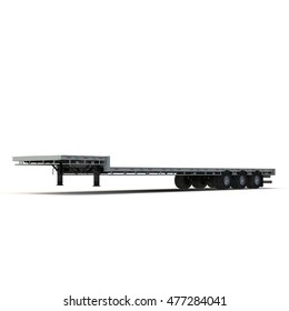 Flat Bed Semi Trailer on white 3D Illustration