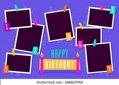 Flat Birthday Collage Frames Set Illustration and Design