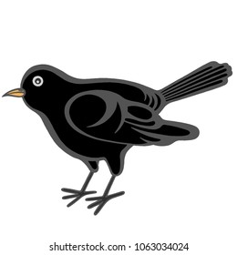 flat black bird illustration with thick outlines