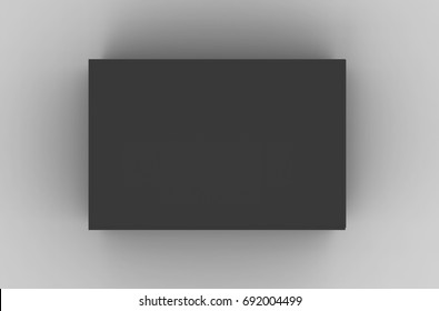 Flat black box mockup, blank box template isolated on grey in 3d rendering, top view