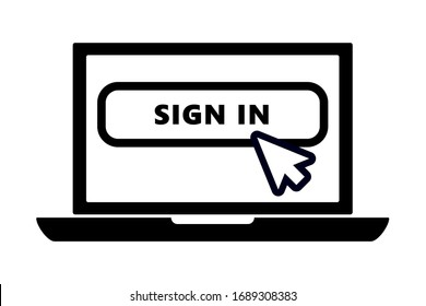 flat black laptop icon with arrow pointer or cursor mouse clicking on sign in button linear icon. Concept of using screen mobile computer or search click mouse for website.