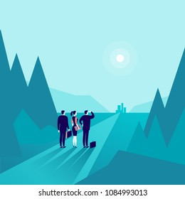 Flat business concept illustration with business people standing at forest edge & watching on horizon city. Metaphor for new aim, goal, purpose, achievement and aspiration, motivation, overcoming.