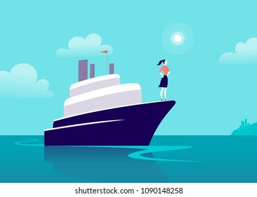 Flat business illustration with business lady sailing on ship through ocean towards city on blue clouded sky. Motivation, achievements, new goals, aspirations, leadership, winner - metaphor.