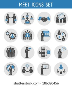 Flat business people meeting icons set of management and leadership isolated  illustration