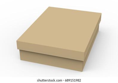 flat cardboard box mockup blank brown stock illustration 689151871