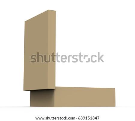 flat cardboard box mockup blank brown stock illustration 689151847