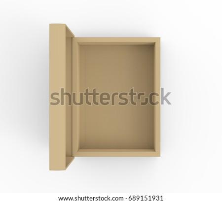 flat cardboard box mockup blank brown stock illustration 689151931