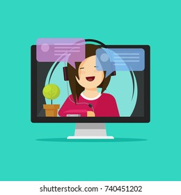 Flat cartoon girl in headset chatting or talking on internet, idea of online webinar or distance learning, internet support operator on computer, consultation or support assistance, video call image