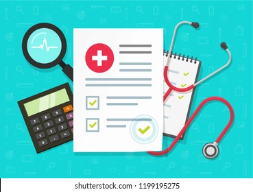 flat cartoon health or medical record paper or insurance document on work desk top view, concept of medicine check list,