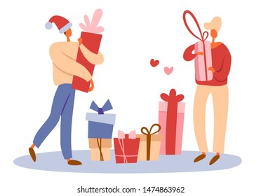 Flat cartoon men as a gay couple sharing gift boxes and making surprises, preparing presents for winter Christmas holidays. Isolated  illustration for LGBT or LGBTQ romantic concepts.