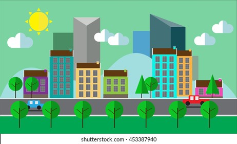 Flat cartoon panoramic city day looped background. Business center with road highway avenue transport street traffic.