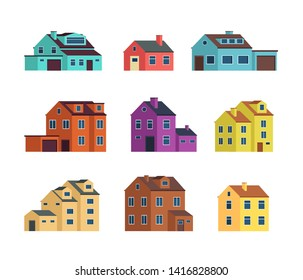 Flat cartoon town houses, cottage buildings with door and windows. Home exterior set isolated. House building exterior, town cottage architecture illustration