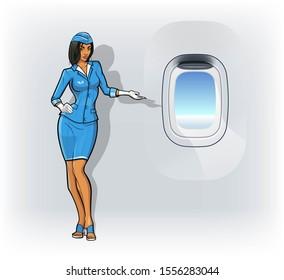 Flat cartoon young woman stewardess on airplane porthole background. Flat cartoon slim girl hostess aircraft concept empty airplane illuminator banner. Business Flight attendant flat illustration