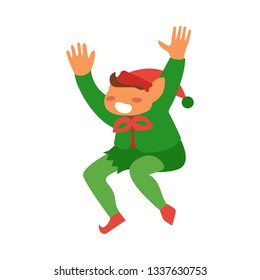 flat christmas elf boy dancing or jumping smiling raising hands up. Fairy holiday character in hat, green costume santa claus assistant. Isolated illustration