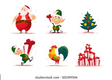 Flat christmas elf portrait set. Santa elf character. Cartoon style illustration. Happy New Year, Merry Xmas design element. Good for congratulation card, banner, flayer, leaflet, poster.
