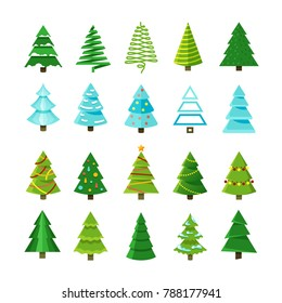 Flat christmas winter trees with festive xmas decoration collection. Winter christmas tree set illustration