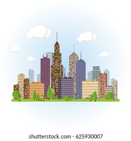 Flat cityscape background. Town architecture. Urban landscape illustration. Modern metropolis skyscraper silhouette.