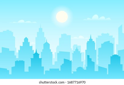 Flat cityscape. Modern city skyline, daytime panoramic urban landscape with silhouette buildings and skyscraper towers sunlight facade panorama outline construction banner
