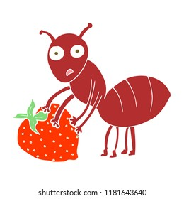 flat color illustration of ant with berry