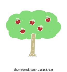 flat color illustration of apple tree