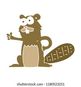 flat color illustration of beaver