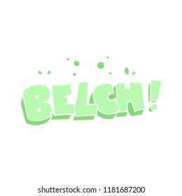 flat color illustration of belch text