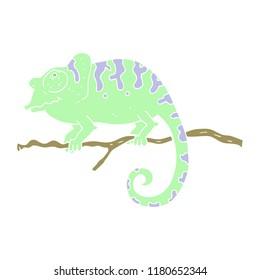 flat color illustration of chameleon