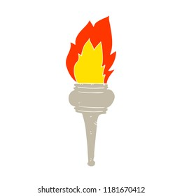 flat color illustration of flaming torch