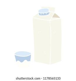 flat color illustration of milk carton