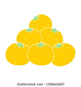 flat color illustration of oranges