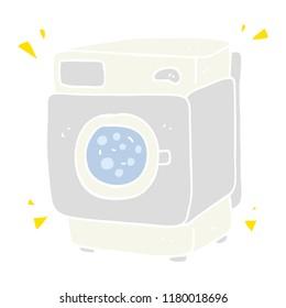 flat color illustration of rumbling washing machine