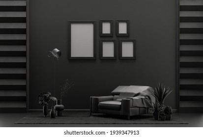 Flat color interior room for poster showcase with five frames on the wall, monochrome black and dark gray color gallery wall with furnitures and plants. 3D rendering,poster showcase