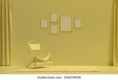 Flat color interior room for poster showcase with five frames on the wall, monochrome light yellow color gallery wall with single chair, without plant. 3D rendering,poster showcase
