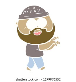 flat color style cartoon bearded man grasping