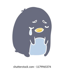flat color style cartoon crying penguin