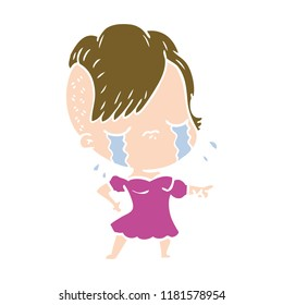 flat color style cartoon crying girl