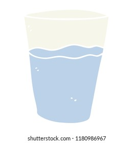 flat color style cartoon glass of water
