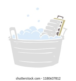 flat color style cartoon old washboard and bucket