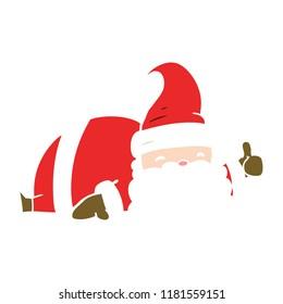 flat color style cartoon sleepy santa