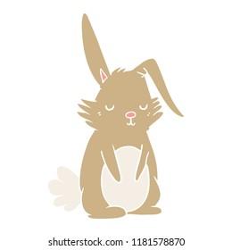 flat color style cartoon sleepy rabbit