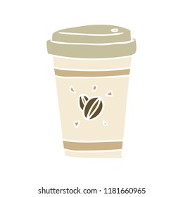 flat color style cartoon takeout coffee