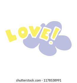flat color style cartoon word love