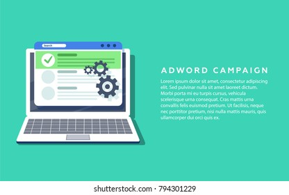 Flat concept for Adword campaign, Search marketing, PPC advertising banner with icons and texts. Digital PR concept with flat illustration for presentations and reports