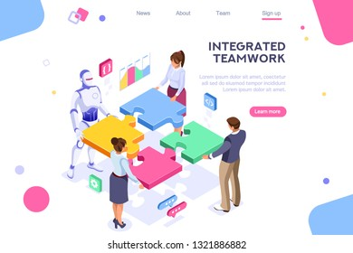 Flat cyborg idea, interactive engineer image. Partnership contact. Human interaction. Banner between white background, between empty space. 3d images isometric illustrations. Interacting people